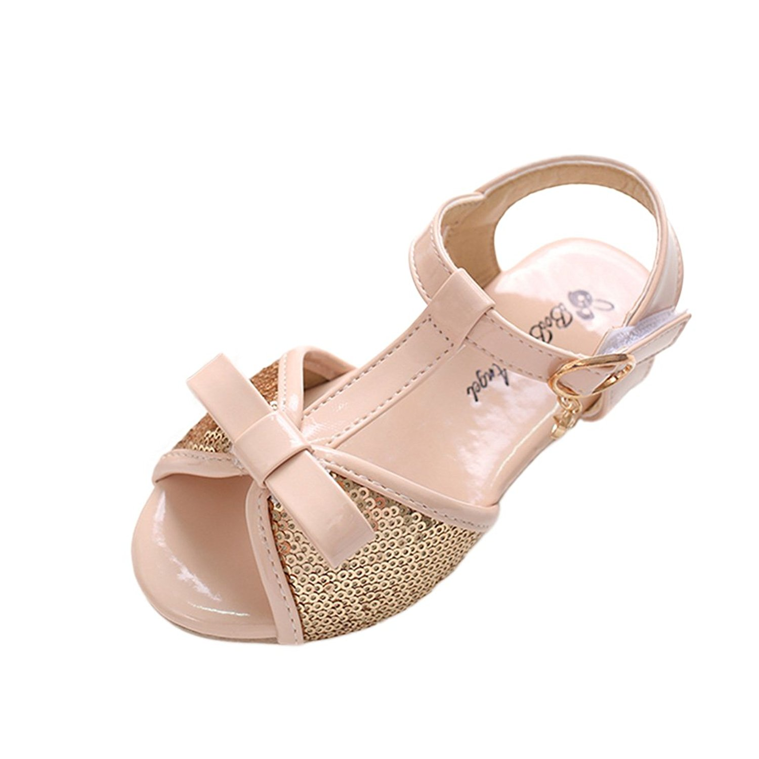 YIBLBOX Kids Girls Sequin Wedding Sandals Princess Flat Shoes Dance Party Bowknot Mary Janes