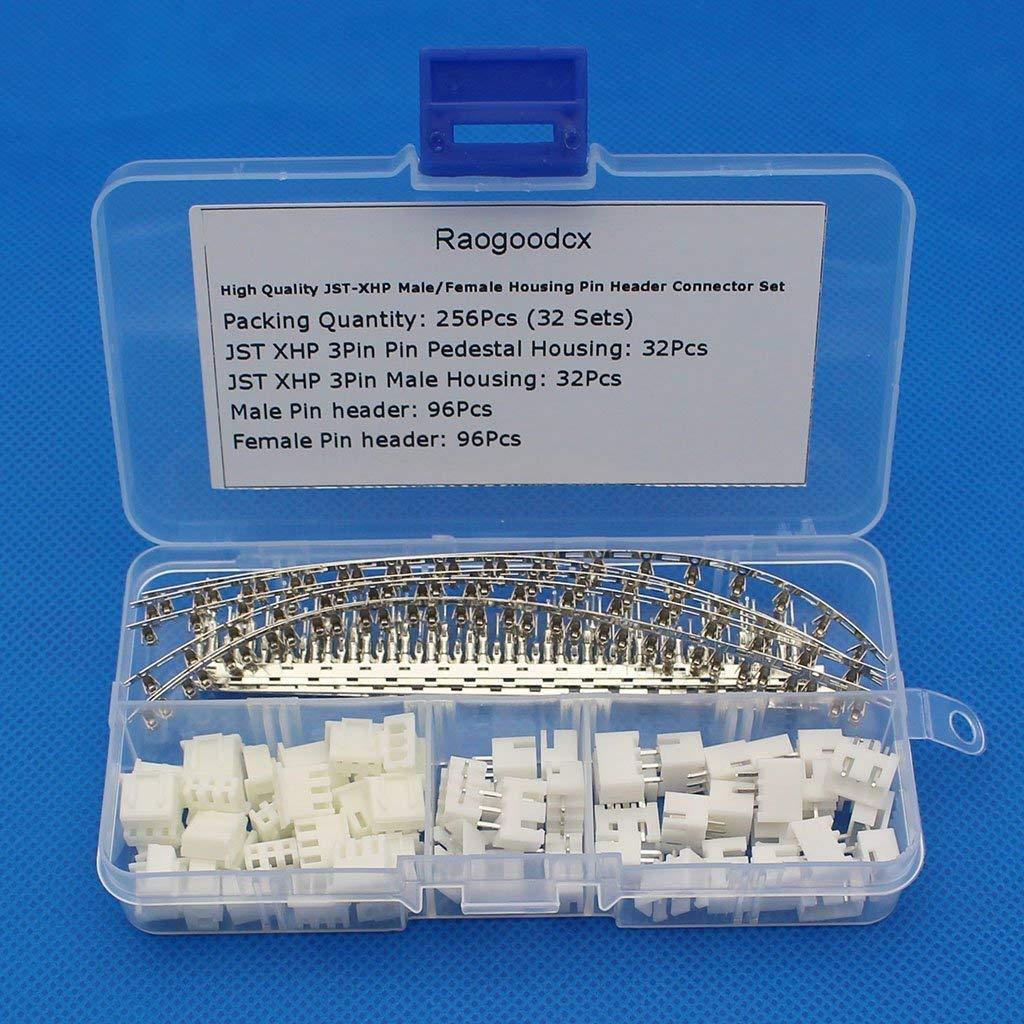 Raogoodcx 256Pcs(32 Sets) 2.54mm JST-XHP 3Pin housing and Male / Female Pin Header Terminals Connector Adapter Plug Set