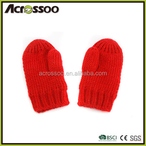 Simple red fingerless mittens, light weight girls acrylic knitted gloves