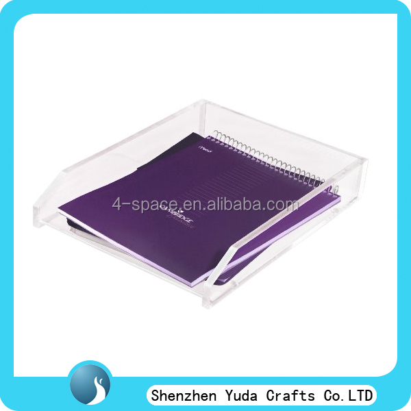 office display A4 paper/file acrylic tray , Acrylic Brochure Document desktop storage box File Paper Stand tray Holder