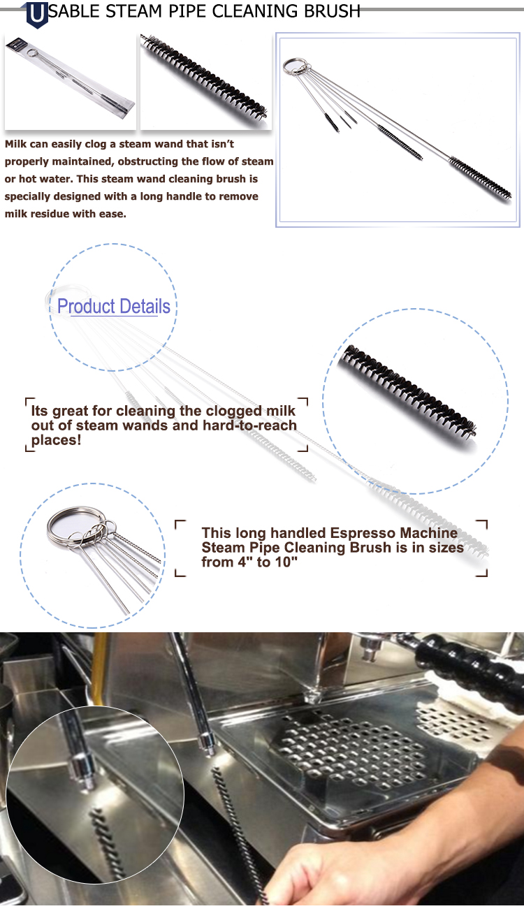 Wholesale Espresso Coffee Machine Steam Wands Pipe Cleaning Brush