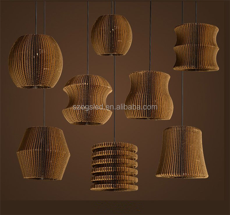 CE approval Modern Brown Hanging Lamp Round Paper Pendant Hanging for restaurant
