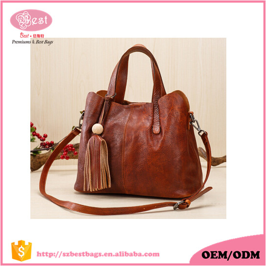 Alibaba Leather Manufacturer Personalized Italian Leather Vintage Fashion Tote Bag with removable pouch Women Handbag