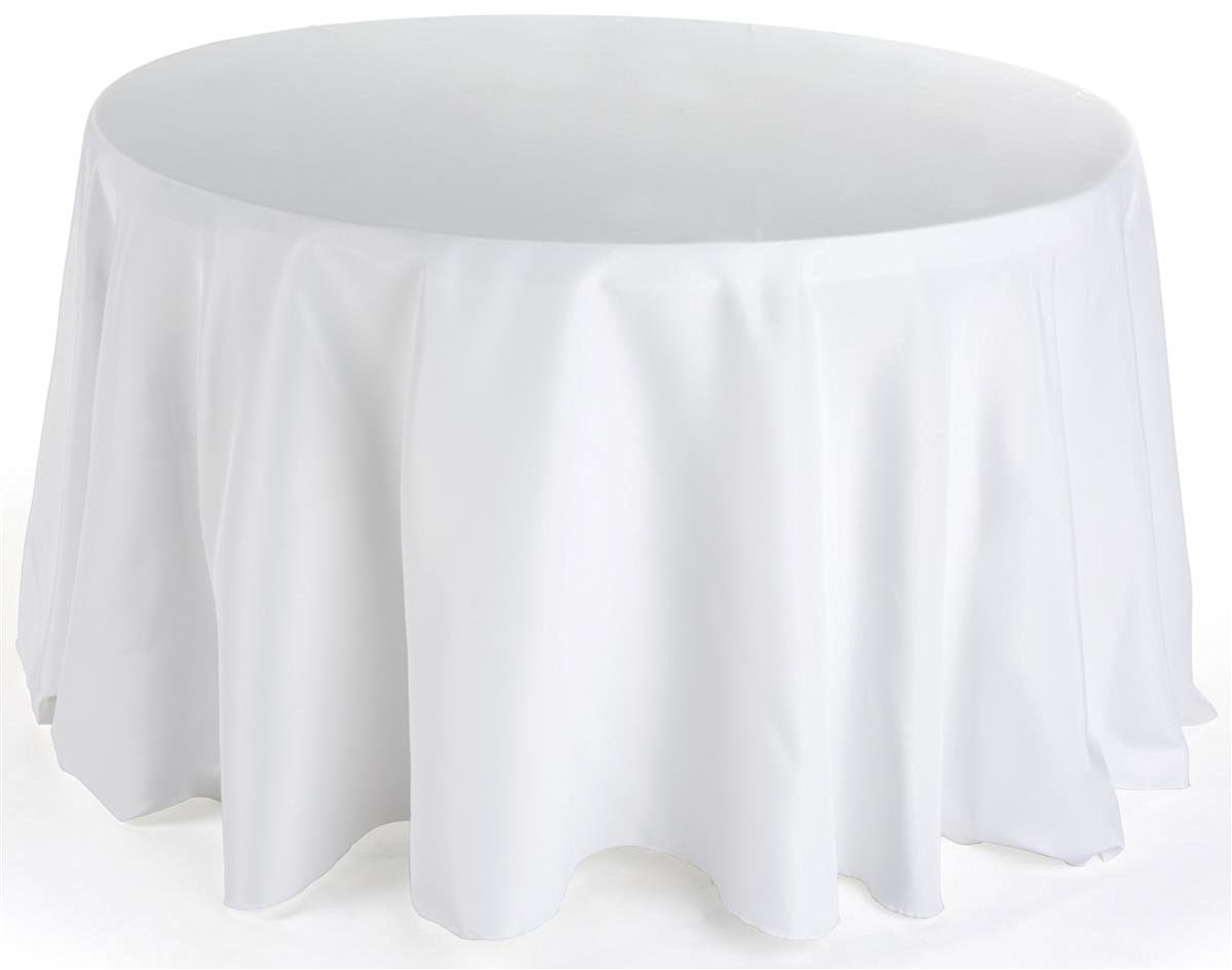 """Displays2go 132"""" w x 90"""" d Round Tablecloth Fits 48"""" to 72"""" Tables, Sold in Set of 2; 100% Polyester Construction - Black, Ivory, or White (RTRND108WT)"""