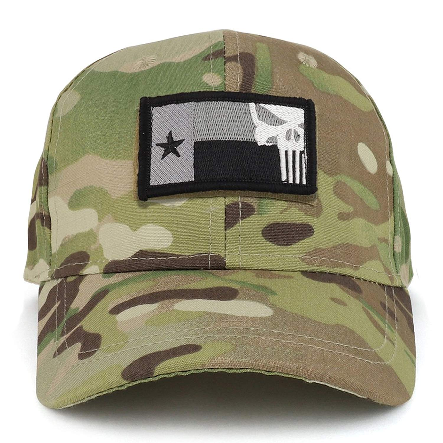 707678d6d48 Get Quotations · Trendy Apparel Shop Youth Punisher Skull Texas State Flag  Patch Tactical Cap