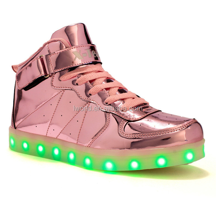 Gold Silver Rose gold color light up shoes Unisex high top led shoes for  dancing and sport bc56ba906f41