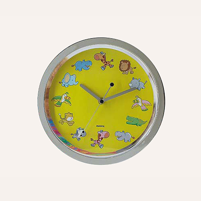 small size plastic round cartoon picture wall clock for home decoration