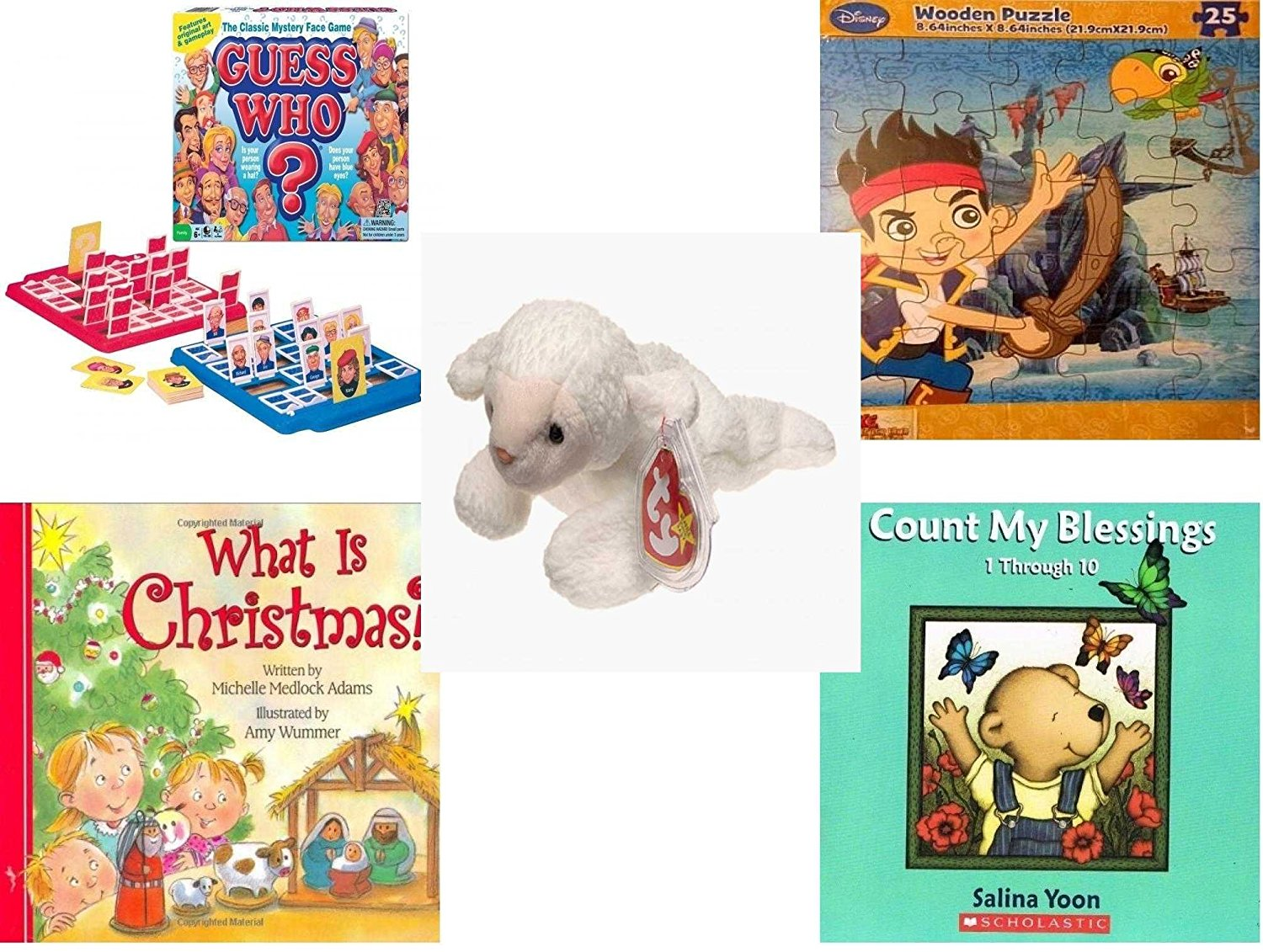Children's Gift Bundle - Ages 3-5 [5 Piece] - Guess Who? Board Game - Disney Jake and The Never Land Pirates Puzzle Toy - Ty Beanie Baby - Fleece the Lamb - What Is Christmas? Board Book - Count My