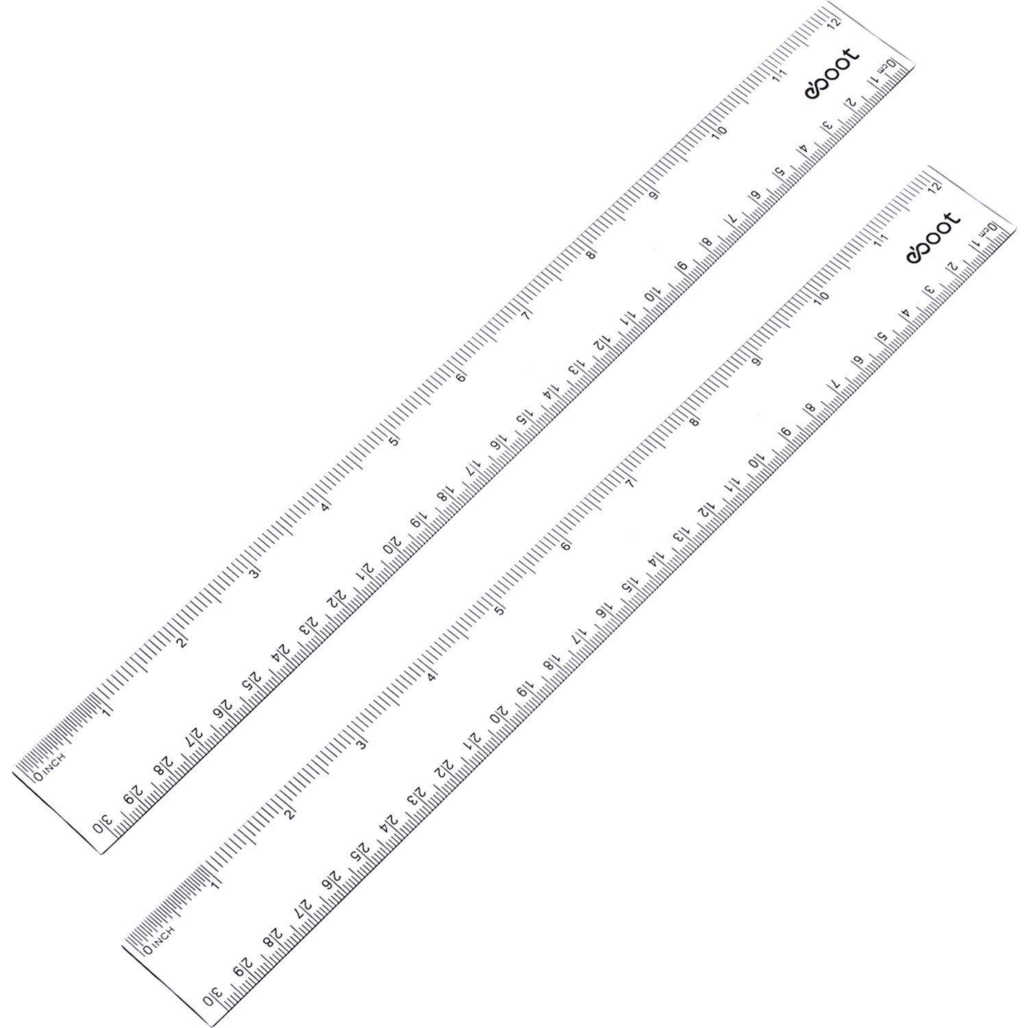 Erica 12 Inches Plastic Ruler Straight Ruler Plastic Measuring Tool for Student School Office, Clear, 2 Pack