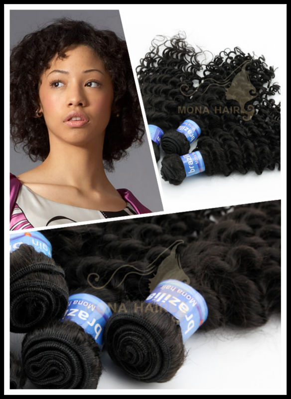 Natural color cheap virgin brazilian curly hair weaving
