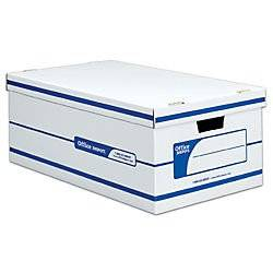 Office Depot 60% Recycled Quick Set-Up Storage Boxes With Lift-Off Lid, Legal, 10inH x 15inW x 24inD, White/Blue, pk Of 12, 0800503