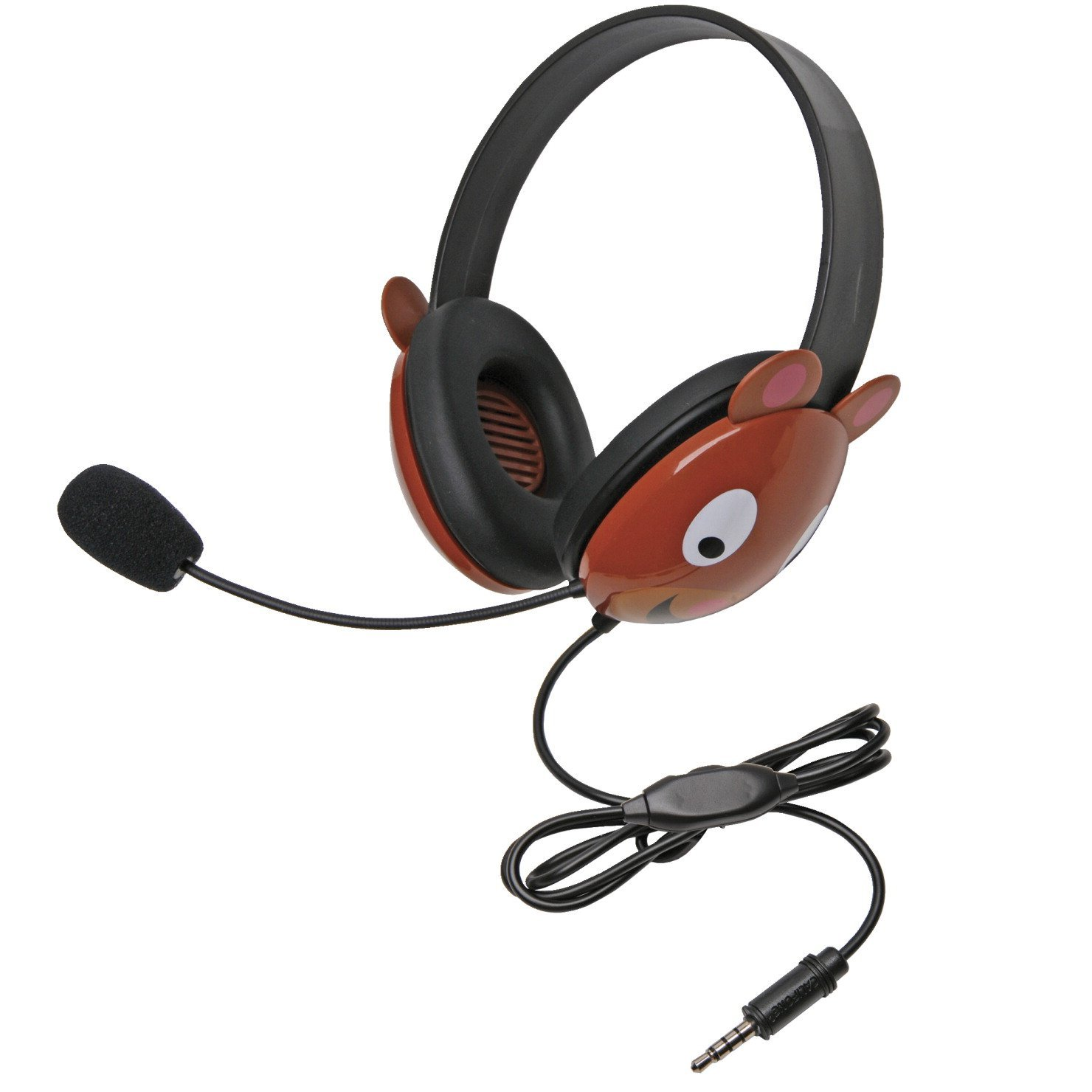 Califone 2810-TBE Listening First Bear Theme Stereo Headset with To Go Plug, For Use With MAC and Windows-Based Computers, iOS/Android-Based Smartphones and Tablets
