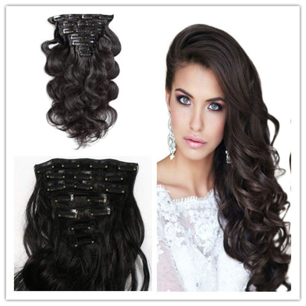Clip in Hair Synthetic Hair Extensions Curly Wavy Natural Black 8 Pcs Hair for Women