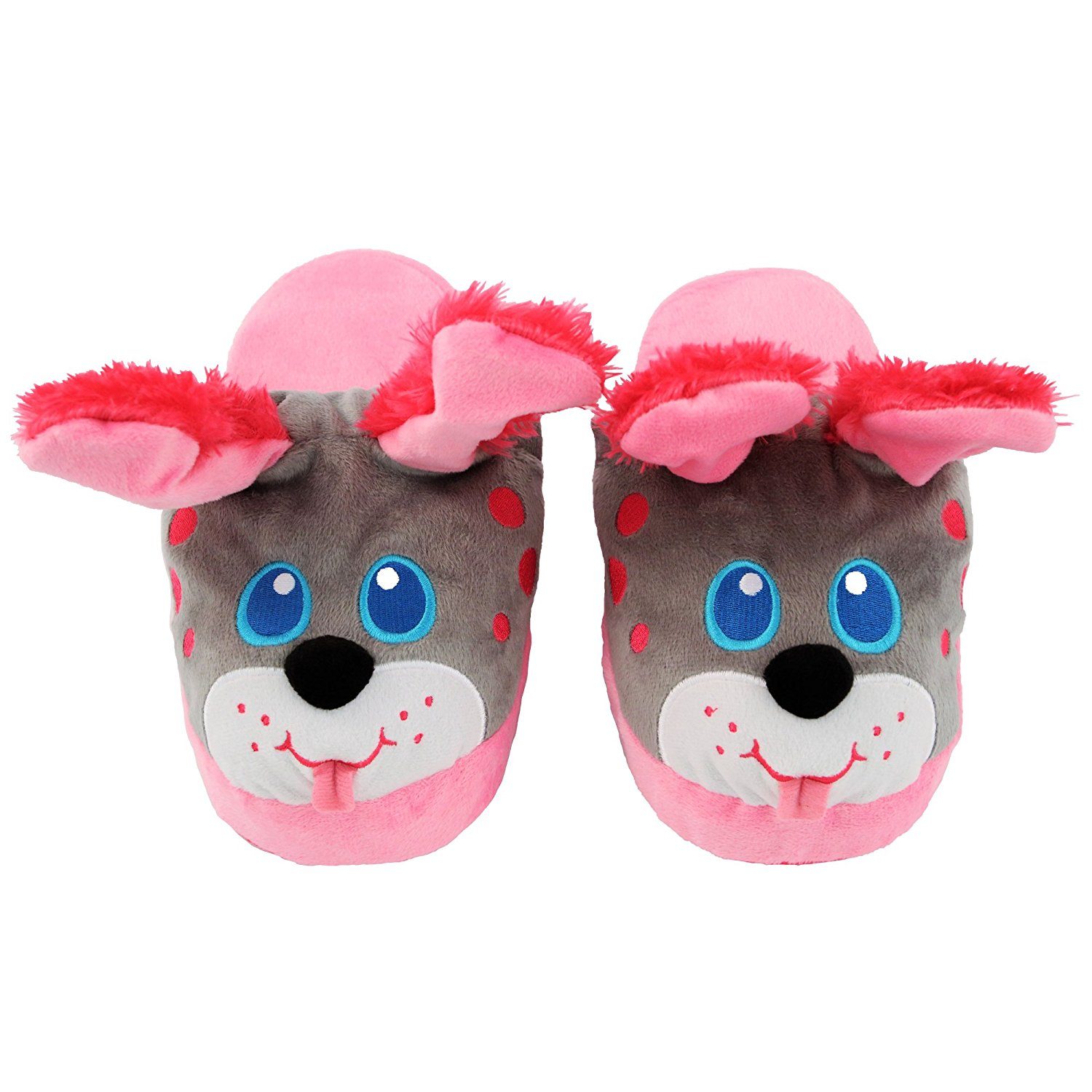 28f209d31f6 Get Quotations · Stompeez Animated Pink Puppy Plush Slippers - Ultra Soft  and Fuzzy - Ears Flap as You