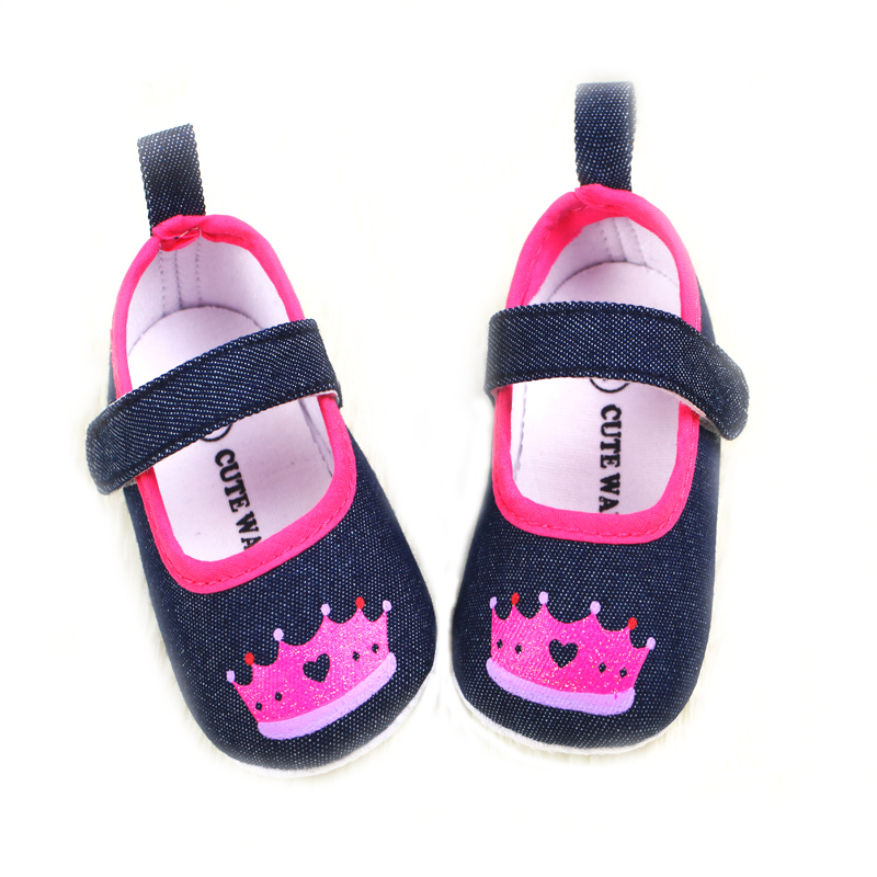 2015 newborn baby shoes girls crown designs cotton infant toddler baby shoes soft sole antiskid kids shoes for baby girl sapato