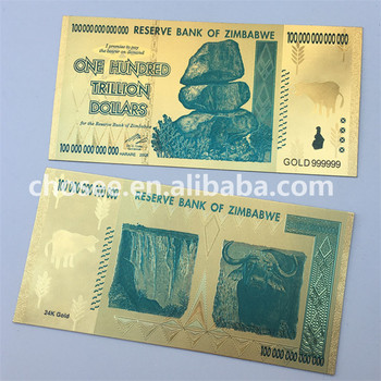 Hot 24k Gold Foil 100 Hundred Trillion Zimbabwe Banknotes For Collection