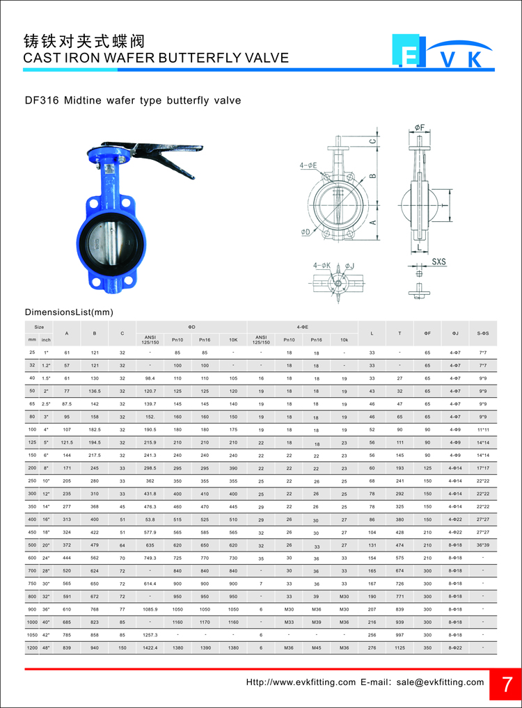 Wafer type butterfly valve with handles pn16 dn200