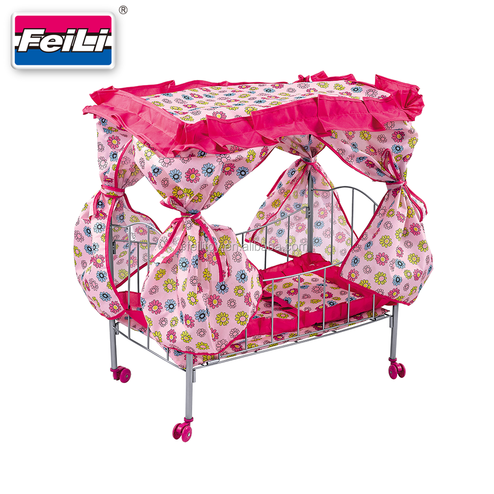 Fei Li Metal Baby Doll Cribs And Beds With Rotate Wheels Iron Doll