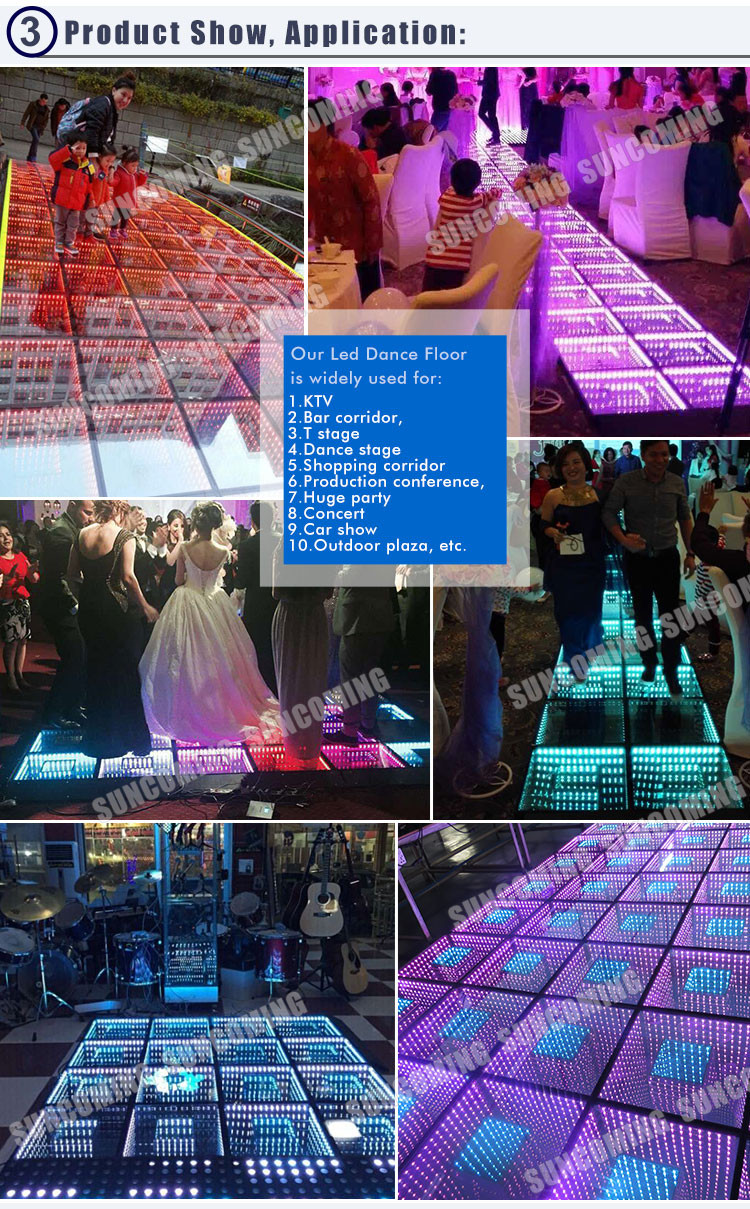 50x50cm Portable Mirror 3d Infinity Led Twinkle Dance Floor Buy 10 Dancing Leds