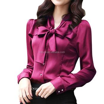 13780e73f03 Women's Chiffon Blouse Bow Tie V Neck Slim Fit Solid Long Sleeve Korean  Chiffon Blouse - Buy Korean Chiffon Blouse,Bow Tie V Neck Slim Korean  Chiffon ...