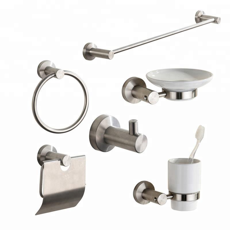Eenvoudig- ontwerp roestvrij staal 304 borstel nikkel badkamer accessoire set
