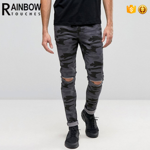 Wholesale China Men super skinny camo printed denim jeans with knee rips