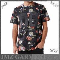 Custom digital printing mens tee flower t-shirt