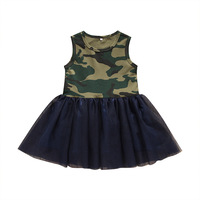 2019 new round neck sleeveless camouflage gauze pettiskirt children dress