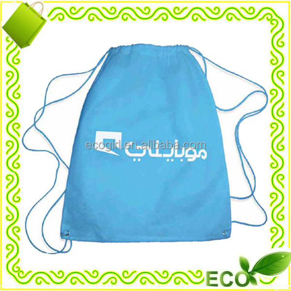 reusable silk screan printing going green eco-friendly non woven drawstring shopping bags