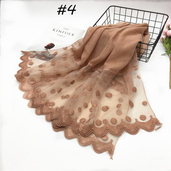 Cheap wholesale beautiful girl solid color lace muslim women floral hijab pakistan custom