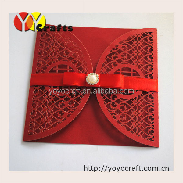 "INC49 Red Traditional Chinese Wedding Invitation Card with Laser Cut "" Double Happiness"" in The Center Comes With Envelope"