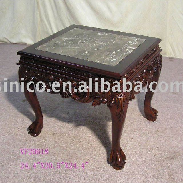 Solid Wood Hand Carved Coffee Table With Marble Top Antique Home Furniture