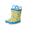 Wholesale custom girl print flowers kids rubber rain boot with reflective tape