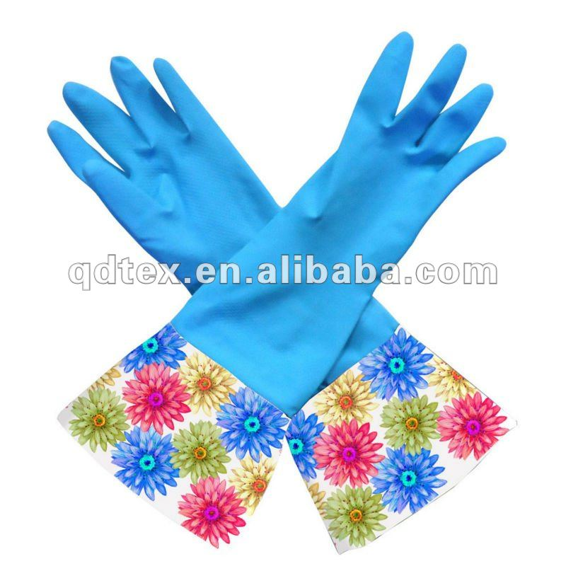 extra long latex gloves with design