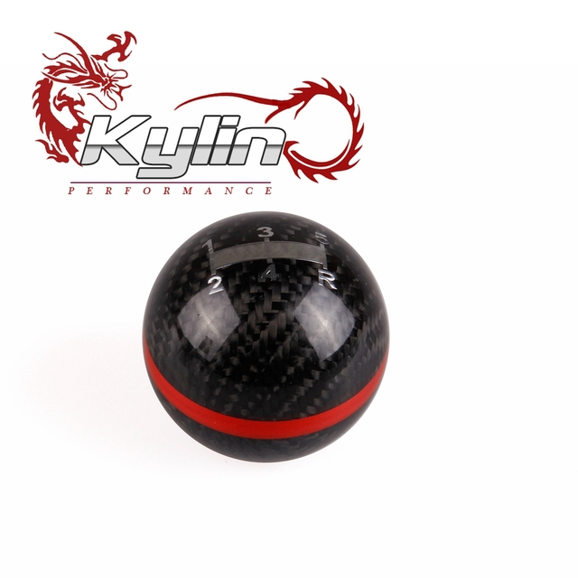 kylin racing Newest Style Racing Shift knob Black Carbon Fiber with Red Line 5-Speed For INTEGRA H auto S2000