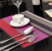 Reversible Vinyl plastic Placemats Stripped for Dining Simple Style table mat