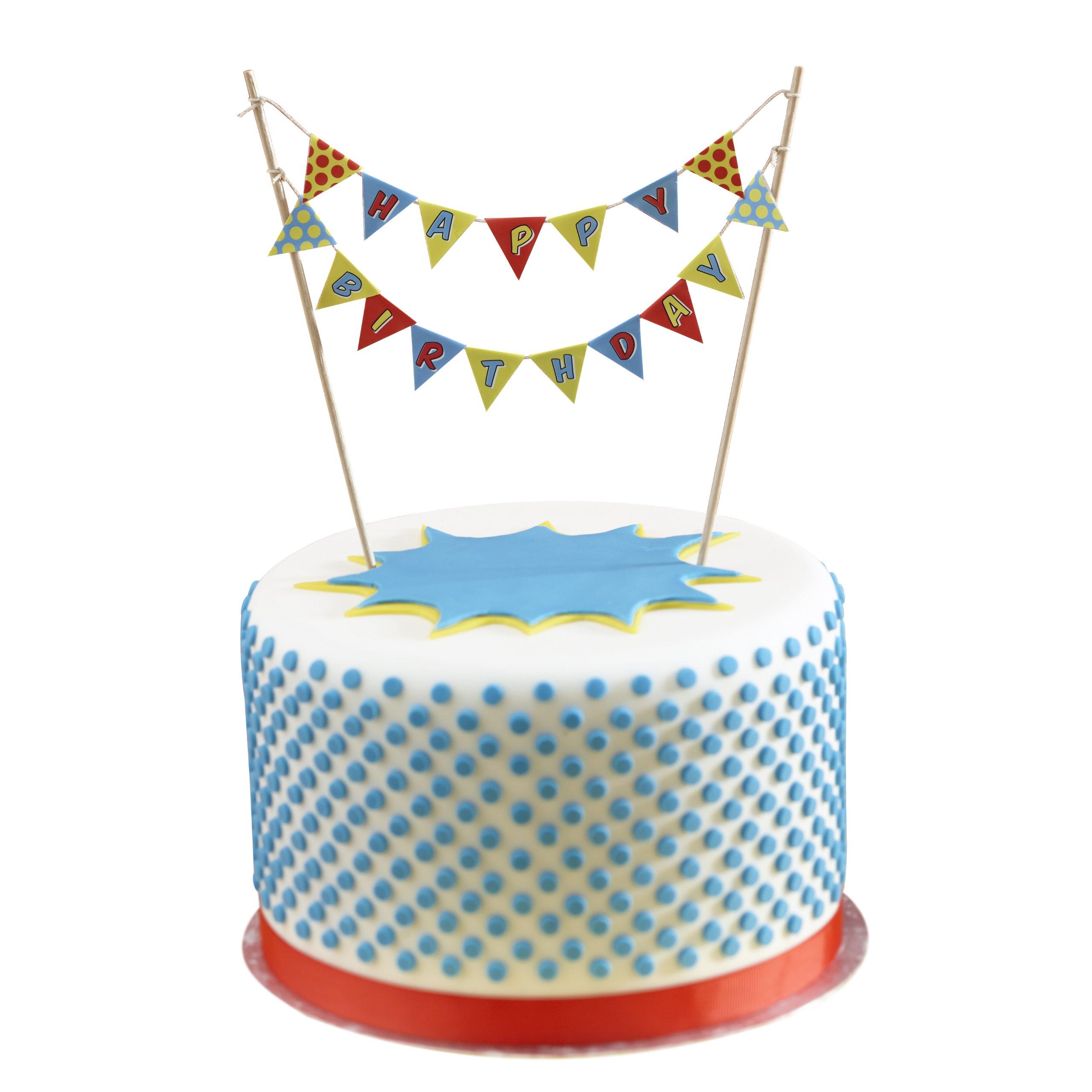 Surprising Buy Ginger Ray Happy Birthday Cake Bunting Topper Pop Art Funny Birthday Cards Online Necthendildamsfinfo