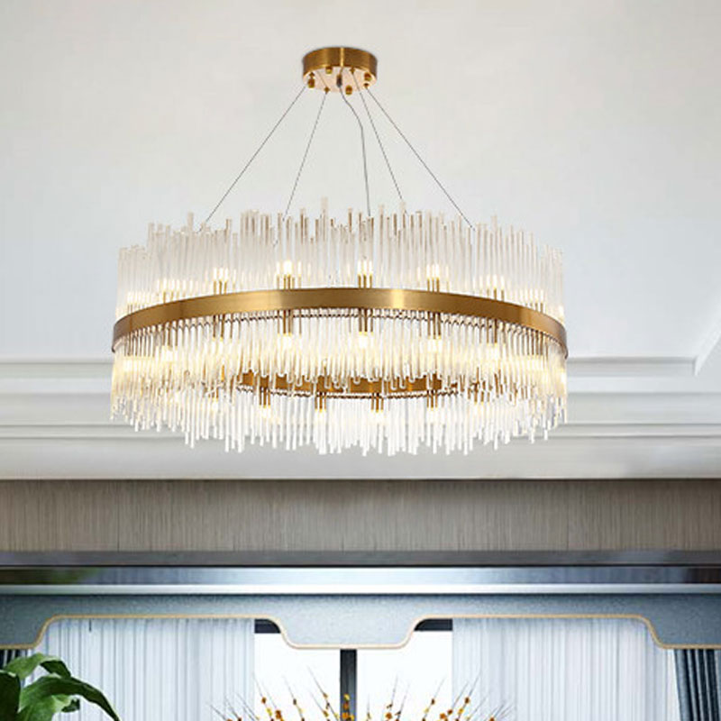 American Country Round Circle Lustre Chandelier Cristal