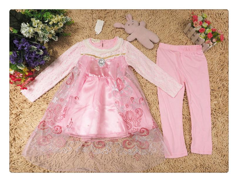 Fashion New Spring Baby Girls Dress+ Leggings 2pc Clothing Sets ...