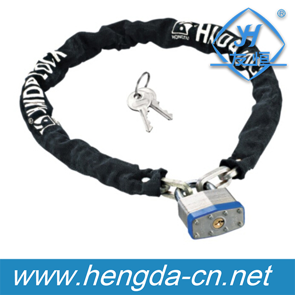 YH1342 High Quality Nylon Cover Moped bike chain lock with padlock