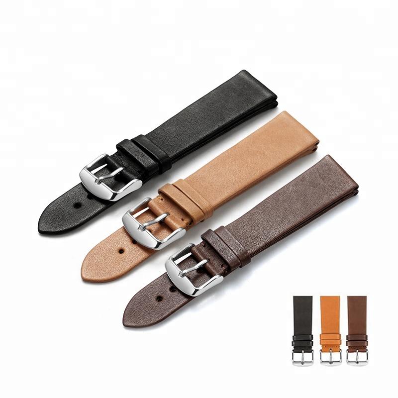 ff941c43946cb Kingnob 18mm To 22mm Flat Watch Band France Calf Leather Watch Strap ...