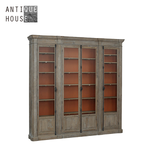 Vintage french style pine bookcase with glass door