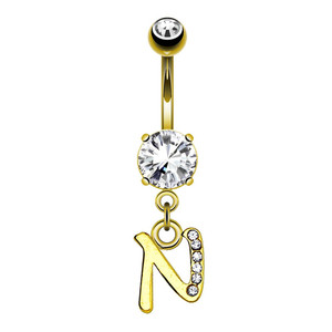 Cursive initial belly button ring, letter N word with diamond navel ring body piercing jewelry