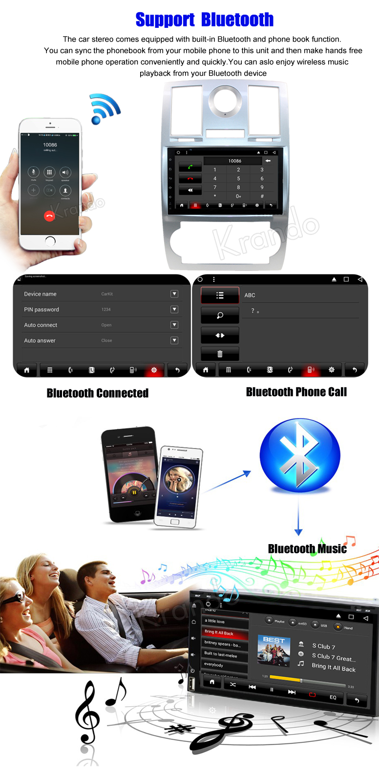Autoradio Krando Android 8 1 9'' per chrysler 300c android audio wifi 3G  playstore bluetooth
