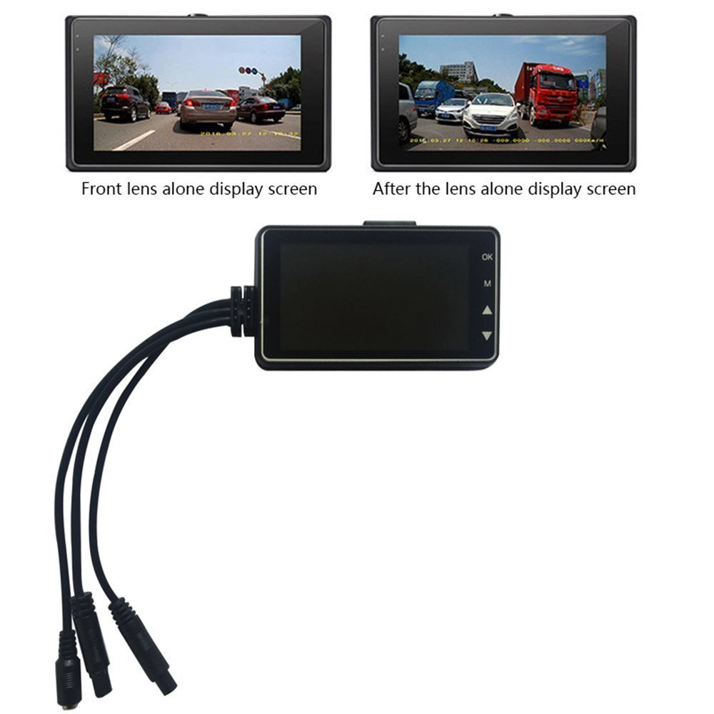 720P 3 inch LCD Screen Dual Lens Motorcycle Camera Recorder