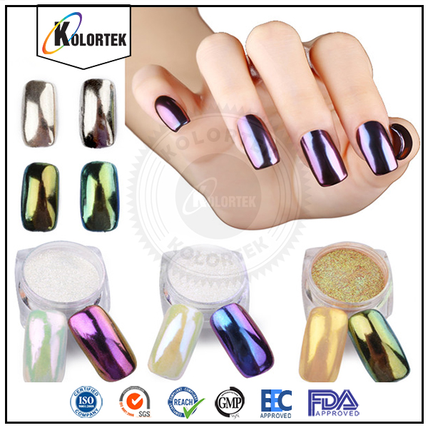 Dipping Powder Nails Nail Art Design Chrome Mirror Pigment Effect