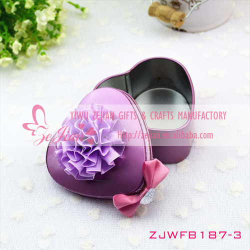 Purple Color of Heart Shape Mint Tin Box Wedding Supplies Candy Boxes Favors