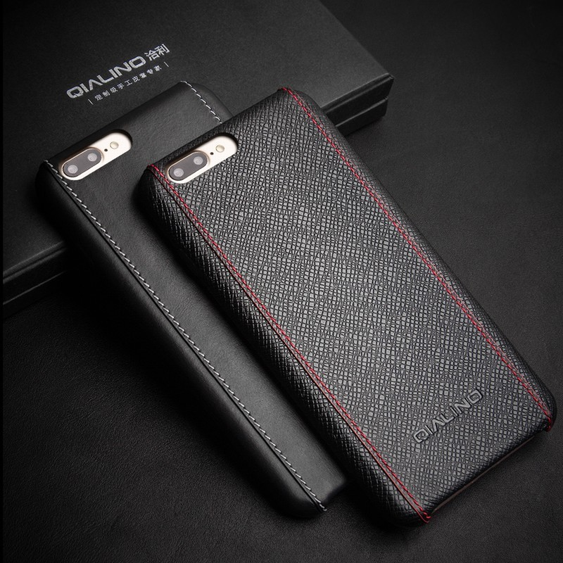 QIALINO Cell Phone Case Luxury Full Grain Leather For Luxury iPhone 7 Case, Case For iPhone 7 plus