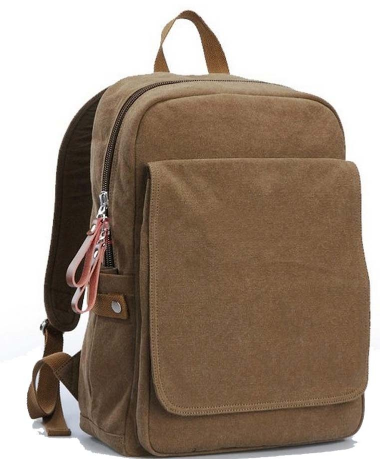Eco-Friendly khaki canvas backpack