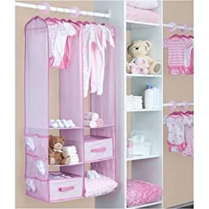 Bon Delta   24 Piece Nursery Closet Organizer, Barely Pink
